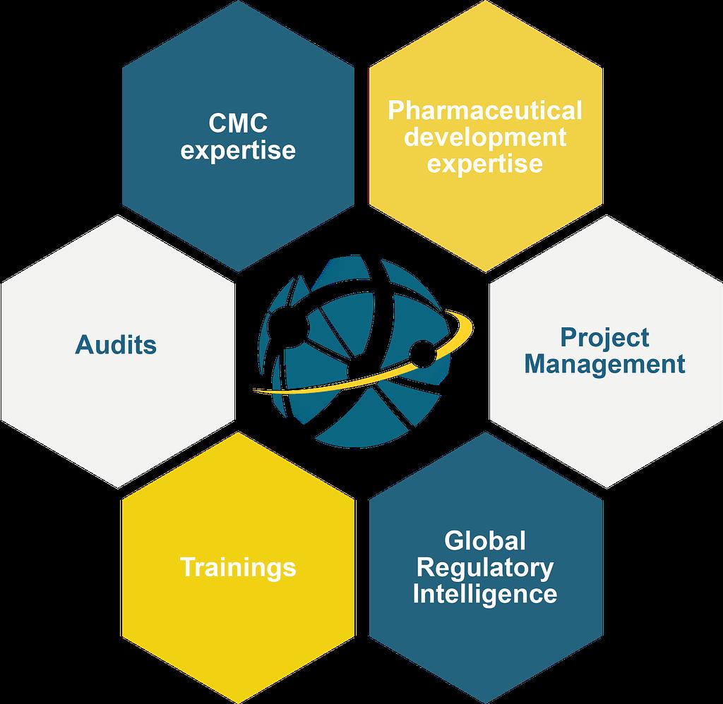 Diagram illustrating the different skills of J2Fpharma : Audits, CMC expertise, pharmaceutical development expertise, project management, trainings, global regulatory intelligence.